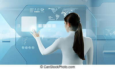Future technology. Girl press button touchscreen interface.