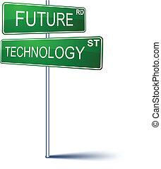 future-technology, irány, cégtábla.