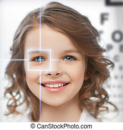 cute girl with eye chart - future technology, medicine and...