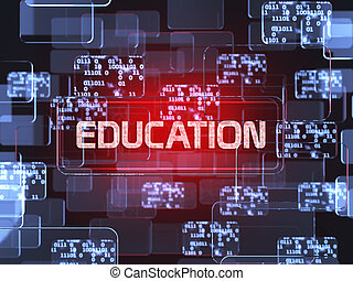 Future technology smart glass red touchscreen interface. Education screen concept