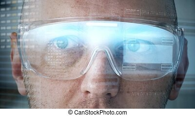 close up of man in smart glasses with coding - future...
