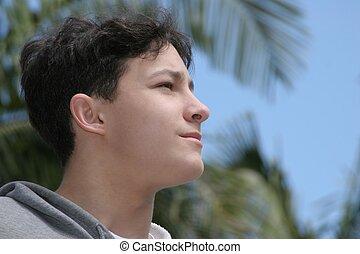 Future - Teenage boy looking forward
