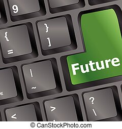 future time concept with key on computer keyboard vector illustration