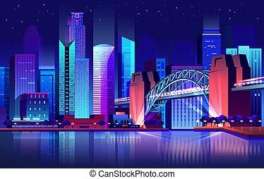 Future town with bridge and river, futuristic city - Future...