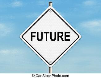 future., vej underskriv, på, den, himmel, baggrund., raster, illustration.
