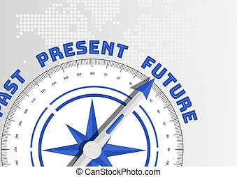 Future versus past and present concept with compass pointing towards text