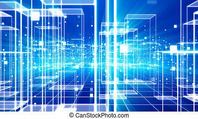 Future Virtual City with Celeste Cubes