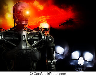 Future War - An image of a futuristic war involving androids...