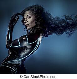 Future women concept, black latex with neon lights
