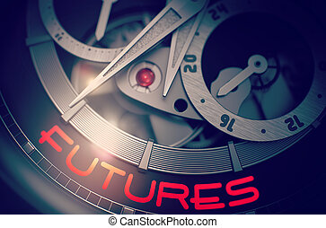 Futures on the Automatic Wristwatch Mechanism. 3D.