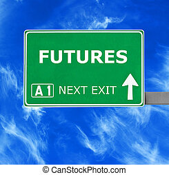 FUTURES road sign against clear blue sky