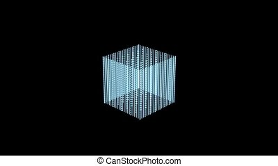 virtual cube hologram over black background