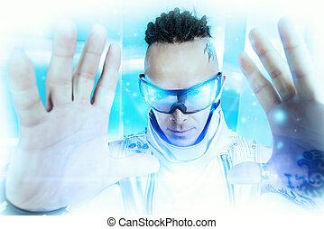 futurism - Portrait of the eccentric futuristic man in ...