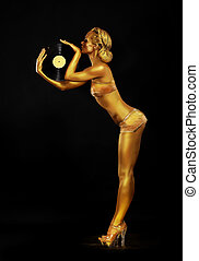 Futurism. Shapely Golden Woman DJ with Vinyl Record. Body...