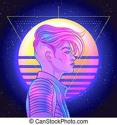 futurismo, onda, giovane, carino, blu, vettore, androgino, ...