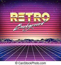 futurismo, retro, fundo, sci, 80s, fi