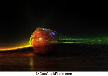 futurista, abstratos, maçã, fundo