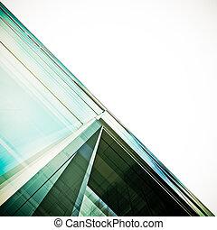 futurista, arquitectura, blanco, aislado