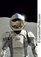 futurista, astronauta, en, la luna
