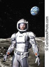 futurista, astronauta, en, la luna, superficie