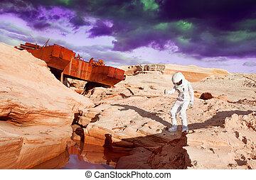 futurista, astronauta, en, otro, planeta, marte