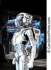 futurista, astronauta, niña, en, traje espacial