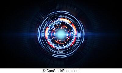 futurista, azul, circular, brilho, vermelho, forma