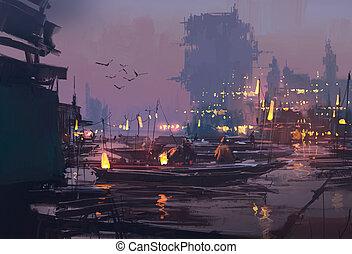 futurista, barcos, ciudad, puerto
