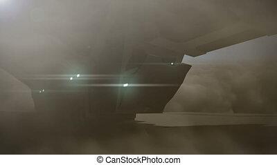 futurista, carga, nave espacial, com, mecânico, panteras, -, 24, fps