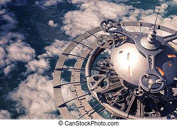 futurista, cielo, estación, encima, el, nubes