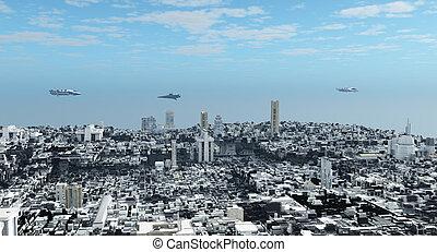 futurista, ciencia ficción, ciudad
