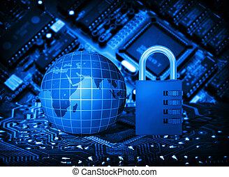 futurista, circuito integrado, código, fechadura, e, globo