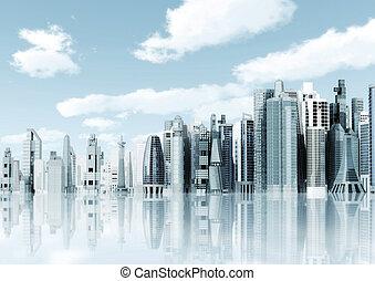 futurista, ciudad, plano de fondo