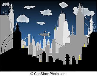 futurista, ciudad, -, vector, plano de fondo