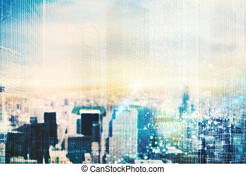 futurista, ciudad, visión