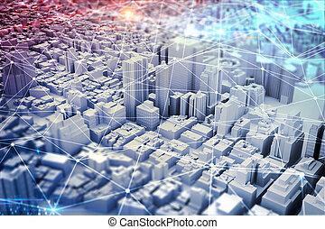 futurista, ciudad, vision., medios mezclados