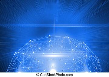 futurista, conexión, brillante, 3d