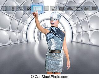 futurista, criança, menina, em, prata, tocar, dedo, ícones