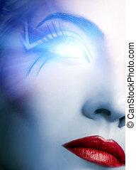 futurista, cyber, rosto, com, glowing, olho