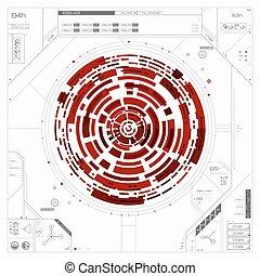 futurista, gráfico, usuario, interface.