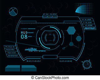 futurista, interface operador, hud