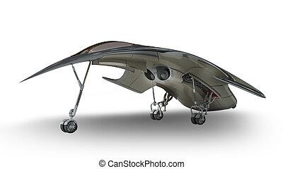 futurista, modelo, 3d, nave espacial