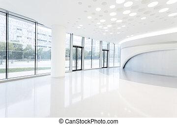 futurista, moderno, edificio de oficinas, interior, en, urbano, ciudad