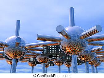 futurista, modular, ciudad