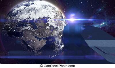 futurista, nave espacial, voando, em, espaço, direção, terra, -, 24, fps