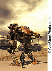 futurista, piloto, y, combate, robot, mecha