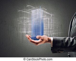 futurista, proyecto, de, un, edificio