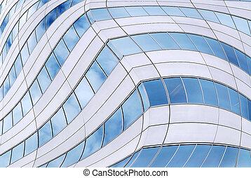 futurista, rascacielos, plano de fondo