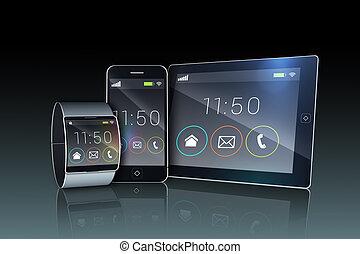 futurista, reloj de pulsera, computadora personal tableta, smartphone