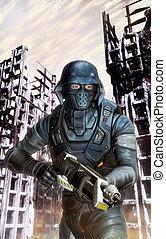 futurista, soldado, en acción, en, guerra